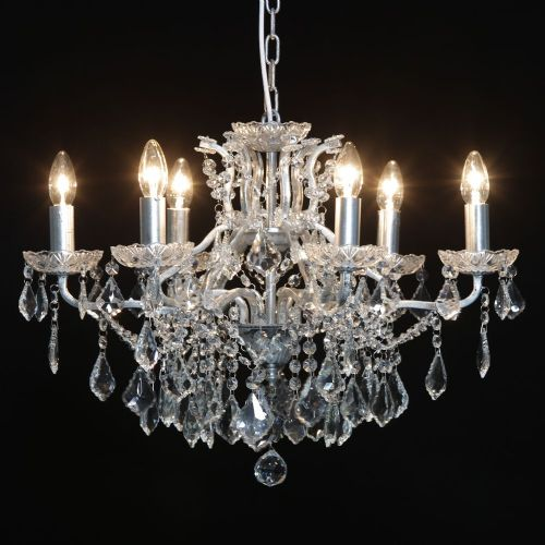Antique French Cut Glass Silver Chandelier 6 arm